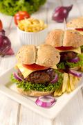 Big cheeseburger - stock photo