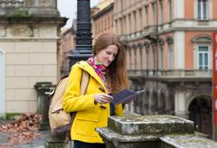 girl at the Bologna street - stock photo