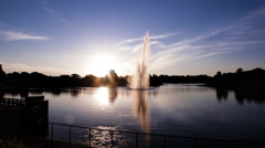 Sunset over Fountain Pond Time Lapse Stock Footage