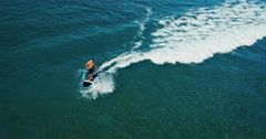 Aerial View Stand Up Paddle Boarding Stock Footage