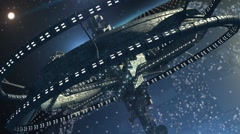 Futuristic triple-ring spaceship Stock Footage