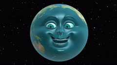Anthropomorphic Earth, seamless loop. 3D animation in cartoon style. Stock Footage