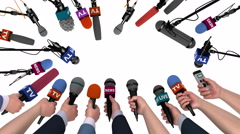 Boom pole microphones and hands with mics on white with alpha matte, 3D Stock Footage
