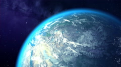 Camera turns to Earth, beautiful 3D animation. Stock Footage