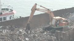 Crane Grabber Loading Metal Scrap Stock Footage