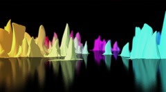 Colorful world map oscillate on black surface, 3D animation Stock Footage