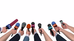 Eager reporters with microphones in their hands, 3D animation, alpha matte Stock Footage