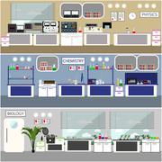 Laboratory vector illustration. Science lab interior. Biology, Physics and Stock Illustration