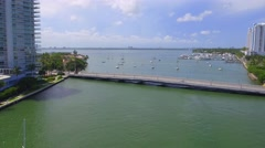 Aerial Venetian Causeway and sail boats Miami Beach Stock Footage