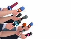 Eager reporters with microphones, side view, 3D animation, alpha matte Stock Footage