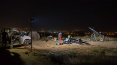 Process of the shot cinema on the background a night city. Time lapse.Hyperlapse - stock footage