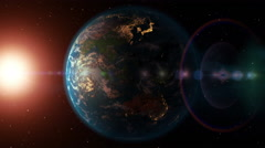 Earth flyby, sunrise and sunset. Beautiful 3D animation, seamless loop. - stock footage