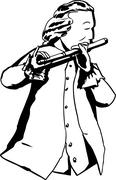 Outline of 18th century man playing flute - stock illustration