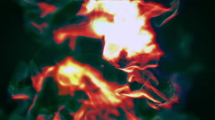 Fire and ashes like in the crater of the volcano, 3D particles, looping Stock Footage