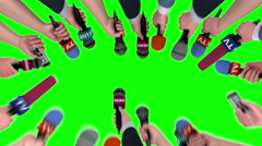 Hands holding microphones and voice recorders on chroma key, 3D animation Stock Footage