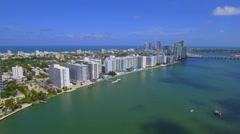 Aerial residential condominiums in Miami Beach Stock Footage