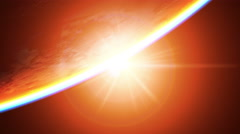 Inverted sunrise, view from space. 3D animation. Stock Footage