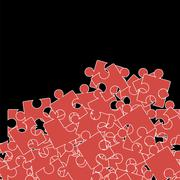 Set of Red Puzzle. Jigsaw Pattern Stock Illustration