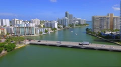 Aerial Venetian Causeway Miami Beach Stock Footage