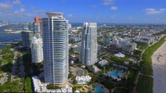 Aerial video of modern Miami Beach architecture Stock Footage
