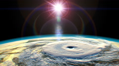 Tropical cyclone, view from space, 3D animation Stock Footage