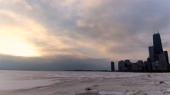 Frozen Lake Michigan Skyline Time Lapse Stock Footage