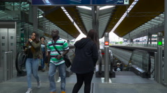 Escalators Bijlmer Station at platform level 14 July 2016 Stock Footage