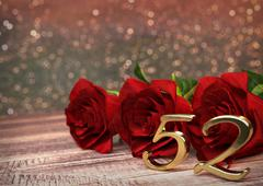 birthday concept with red roses on wooden desk. fifty-second. 52nd. 3D render - stock illustration