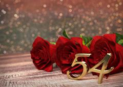 birthday concept with red roses on wooden desk. fifty-fourth . 54th. 3D render - stock illustration