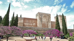 Alhambra fortress garden Stock Footage
