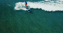Aerial View Stand Up Paddle Surfing - stock footage