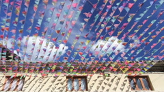 Prayer flags decorate in historical  old town shangri-la , Yunnan ,China. - stock footage