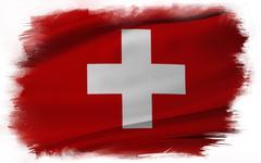 Swiss flag on plain background - stock illustration