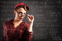 Pin-up teacher - stock photo