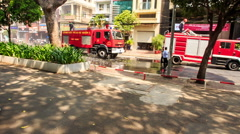 People Crowd on Pavement Photo Fire Engines Brigade Stock Footage
