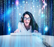 Geek and hacker woman - stock photo