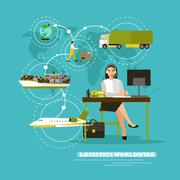 Worldwide delivery service company concept vector illustration. Operator control Stock Illustration