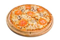 Pizza with mushrooms on a wooden board Stock Photos