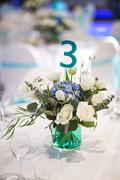 Beautifully organized event - served banquet tables ready for guests Stock Photos