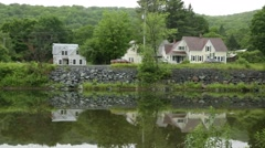 Reflections of Car Traffic on River in Countryside Stock Video - stock footage