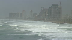 The Mediterranean Coast, Tel Aviv, a rare stormy winter day, seen from Old Jaffa Stock Footage