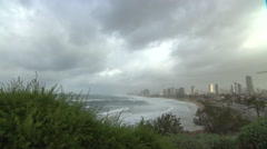 Clouds over Tel Aviv on a rare stormy winter day, seen from Old Jaffa Stock Footage