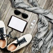 Set of travel items. Top aerial view. Stock Photos