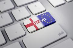 Brexit concept with england and EU flag on a computer keyboard Stock Illustration