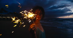 Young Woman with Sparklers Stock Footage