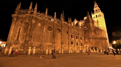 Cathedral of Seville by night Stock Footage