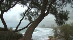 Tel Aviv on a rare stormy winter day, seen from Old Jaffa Stock Footage