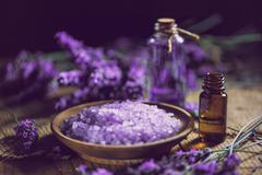 Essential oil and lavender bath salt - stock photo