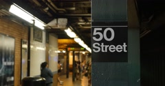 Manhattan 50th Street Subway Platform Establishing Shot  	 Stock Footage