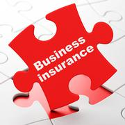 Insurance concept: Business Insurance on puzzle background - stock illustration